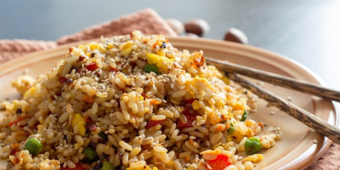 Shiitake Fried Rice with Water Chestnuts