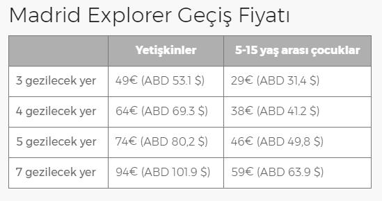 explorer pass ücretlendirme